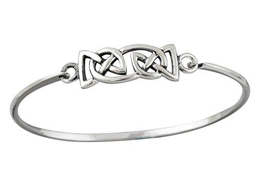 FashionJunkie4Life Sterling Silver Polished Celtic Knot Bangle Bracelet with Latch