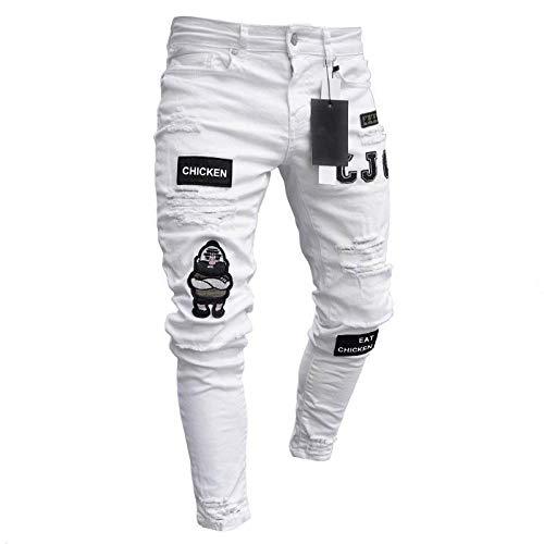 Jeans Vaqueros Pantalon Hombres Jeans Skinny Hip Hop Cool Streetwear Biker Ripped Zipper Jeans Slim Mens Gradual of Color Pencil Homme Elastic Force Jeans-White_28