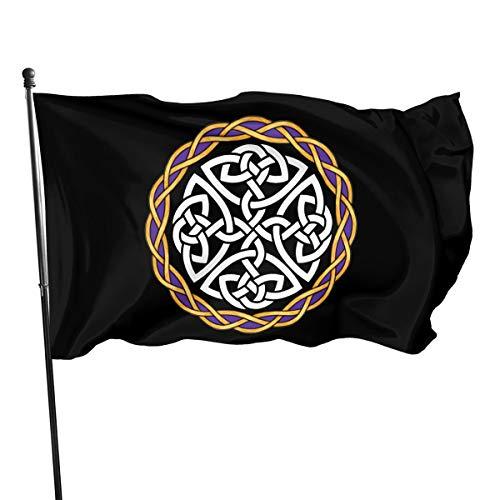 Irish Shield Warrior Celtic Cross Knot 3x5 FT American Flag, Outdoor Banner, Family Banner, Garden Banner Black