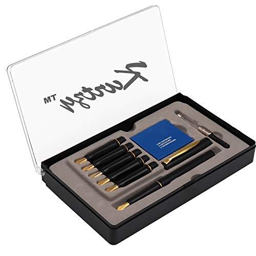Kalligraphie Füllfederhalter - 14-tlg Schreib Set mit 6 Spitzen und Patronen von Kurtzy - Stationäres Tinten Set für Kalligraphie-Beschriftung - Komplettes Lern-Set für Anfänger - Mit Koffer