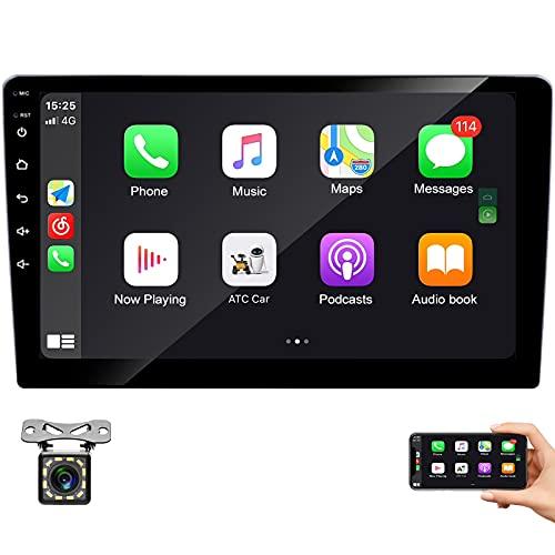 Radio Coche 2 DIN 9 Pulgadas Conexión Android Auto y Carplay, Bluetooth Reproductor Mp5 para Coche,con Mirrorlink, Carga Rápida, Cámara De Visión Trasera IR, Pantalla Táctil, Radio FM/USB/AUX