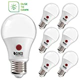 Sunco Lighting 6 Pack A19 LED Bulb with Dusk-to-Dawn, 9W=60W, 800 LM, 3000K Warm White, Auto On/Off Photocell Sensor -...