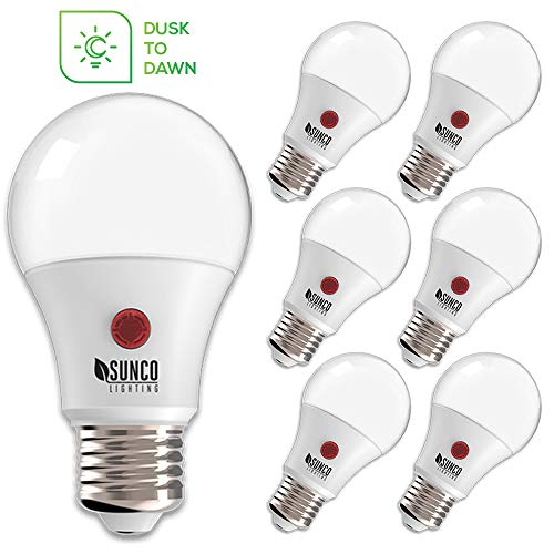 Sunco Lighting 6 Pack A19 LED Bulb with Dusk-to-Dawn, 9W=60W, 800 LM, 5000K Daylight, Auto On/Off Photocell Sensor - UL