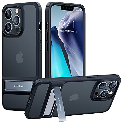 TORRAS MarsClimber Compatible for iPhone 13 Pro Max Case, [3 Stand Ways Metal Kickstand] [8X Military Armor-Level Shockproof] Translucent...
