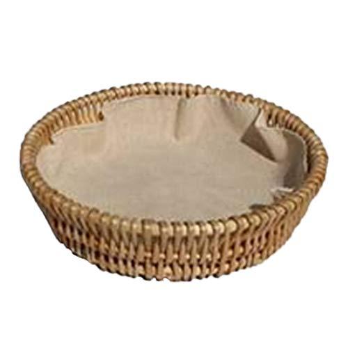 Rattan im Trend - Cestino per il pane in rattan, con inserto in lino XL + panno per gabbia.