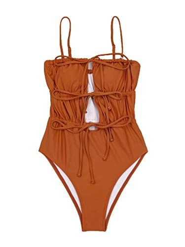 SheIn Damen-Badeanzug mit Kordelzug, kabellos, BH und Höschen, Bikini, Strandkleidung - Orange - Medium