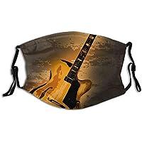 Cubierta de nariz reutilizable unisex Una guitarra de jazz de gran cuerpo en un fondo Tinber Tapones para el polvo Tapones para los oídos ajustables con filtro reemplazable