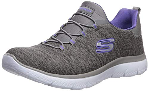 Skechers Women's Summits-Quick Getaway Sneaker, Charcoal/Purple, 8.5 W US