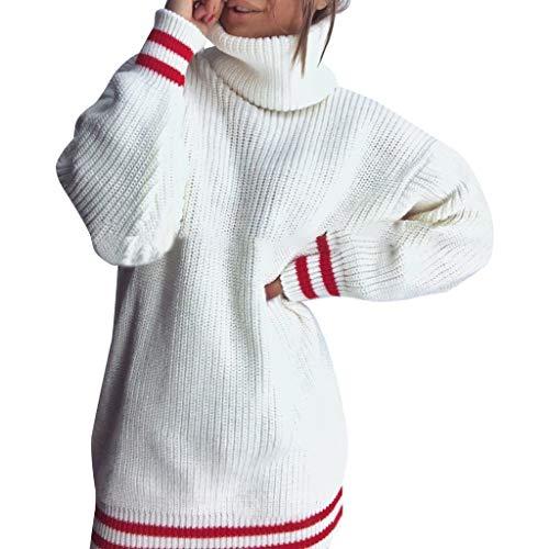 TAMALLU Sweater Sweatshirt Damen Mode Lässig Feste Strick Langarm Einfache Tunika(Weiß,XS)