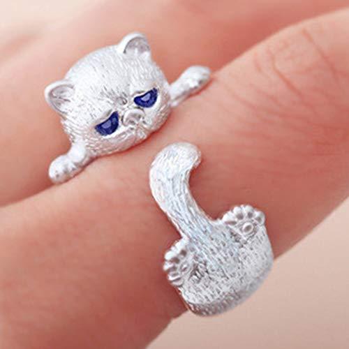 Ushiny Anillo de gato con ojo de cristal azul de plata ajustable anillo abierto gato animal pata personalidad anillo joyería para mujeres y niñas