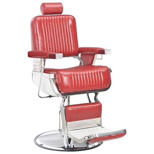 vidaXL Poltrona da Barbiere Imbottita Regolabile Girevole 360° Capelli Barba con Poggiatesta Poggiapiedi Sedia da Parrucchiere Rossa in Similpelle