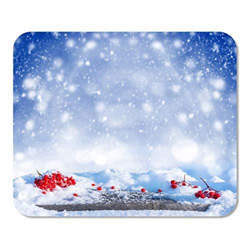 N\A Mousepad Computadora Bloc de Notas Oficina Azul Navidad Nevado Fresno de montaña en Mesa de Madera Inicio Escuela Juego Jugador Computadora Trabajador Pulgada