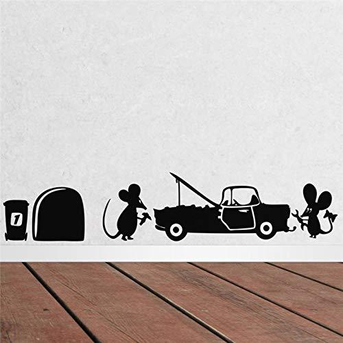 Cartoon Creative Mouse Repair Das Auto Wandaufkleber für Wohnzimmer Wandkunst Dekor Diy Vinyl Black Decals Geschenk