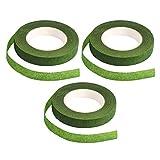 Cinta floral, 3 piezas verde ramo de ramo de flores para manualidades (alrededor de 22 m/r...