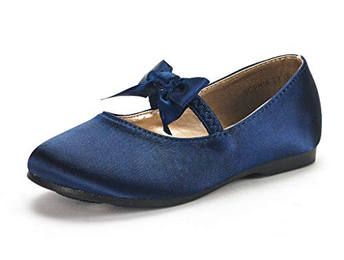 DREAM PAIRS Sophia-22 Adorables Mary Jane Front Bow Elastic Strap Ballerina Flat Little Girl New Navy Size 1