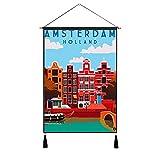 Visit Amsterdam - Tapiz para colgar en la pared, diseño vintage, 4560 cm, 4560 cm, color azul