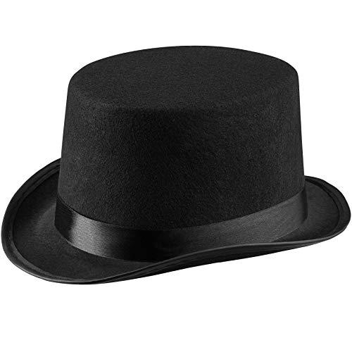 dressforfun 303996 Kinder Zylinder Hut mit Satinband, klassischer Zylinderhut in Einheitsgröße, Hutgröße 53, schwarz, ideal für Zauberer, Zirkusdirektoren, Karneval, Fasching