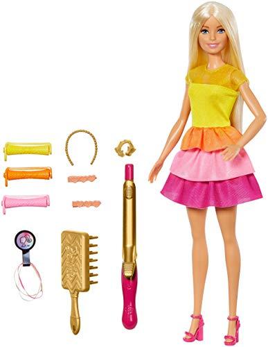 Barbie GBK24 - Locken Style Puppe (blond) mit Lockenstab und Zubehör, Puppen Spielzeug ab 5 Jahren
