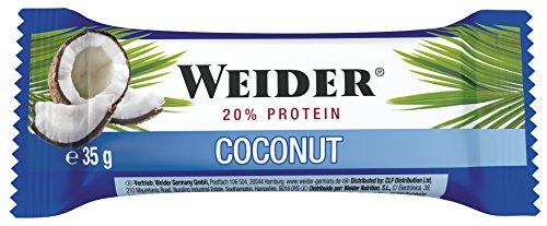 Weider Barrita de Proteína sabor Coco. Óptima mezcla de hidratos de carbono, proteínas y vitaminas (24 x 35 g)