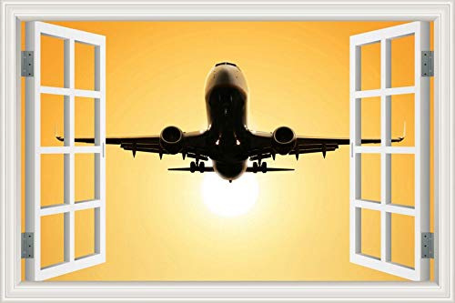 3D Window Wall Sticker PVC Decal Poster Mural City Sky Clouds Flight take Off Landing Flying Plane Aircraft Airliner Landscape Home Decor Bedroom