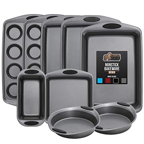 Gorilla Grip Original Kitchen Bakeware Sets, 9 Piece Baking Set with Silicone Handles, Includes 2 Large Size Cookie Sheets, 2 Round Cake Pans, 2 Muffin Pans, Loaf Pan, Large Roaster, Square Pan, Black