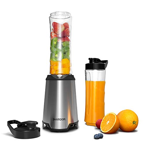 SHARDOR Personal Blender, Smoothie Blender with 2 BPA-Free Portable 20oz Travel Cups for Juice Shakes, Smoothies, Food Prep, 300W, Silver