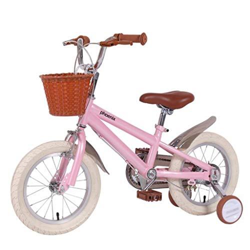 M-YN Bicicleta infantil de 35,56 cm, 40,64 cm, 45,72 cm, para niños de 2 a 11 años, de 32 a 47 pulgadas, con ruedas de entrenamiento y posavasos (color: rosa, tamaño: 40,64 cm)