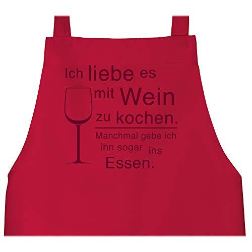 Shirtracer Schürze mit Motiv - Ich liebe es mit Wein zu kochen - 80 cm x 73 cm (H x B) - Rot - kochschürze ich liebe es mit wein zu kochen - X967 - Schürze und Kochschürze für Erwachsene