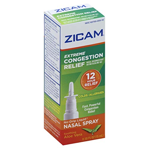 Zicam Extreme Congestion Relief No-Drip Liquid Nasal Spray with Soothing Aloe Vera, 0.5 Ounce