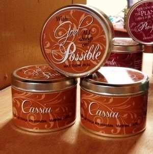 1 X Scented Candle - Cassia (Scripture TIN 6 Oz)