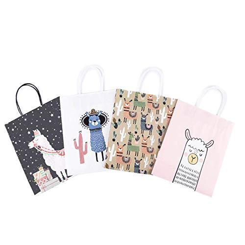 Lindas bolsas a granel con asa bolsas de papel kraft para compras al por menor de artículos para clientes o invitados 48 piezas