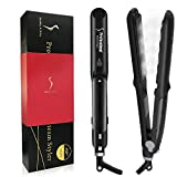 Steam Straighteners for Hair, DORISILK Professional Salon Ceramic Tourmaline Vapor Steam Flat Iron Hair Straightener, Dual Voltage 2 in 1 Straightening Curling, LED Display with Adjustable Temp.