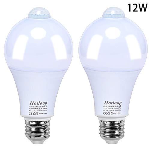 Bombilla LED con sensor de movimiento, encendido/apagado automático, 12 W, E26/E27, con sensor para dormitorio, cuarto de bebé, sótano (2 unidades), color blanco