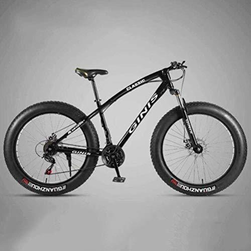 CJH Offroad, Outdoor Sport, Variable Speed, Off-Road Beach Snowmobile Bicicleta de Montaña con Llantas Ultra Anchas - Bicicleta de Carretera Urbana con Ruedas de 26 Pulgadas (Color: Negro, Tamaño: 24