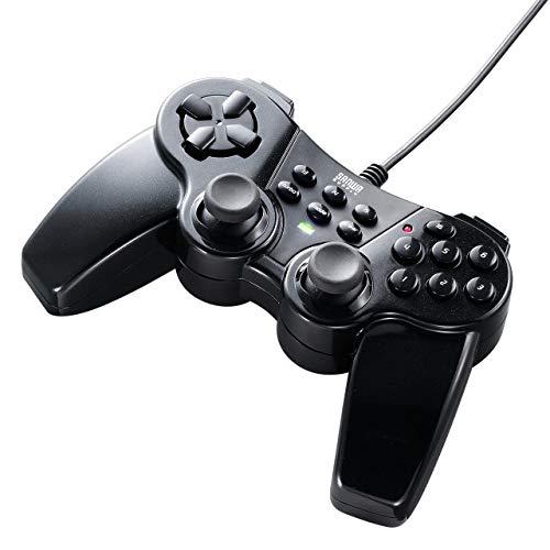 サンワダイレクトゲームパッド16ボタン全ボタン連射対応Xinput対応振動機能付windows専用400-JYP62UBKX