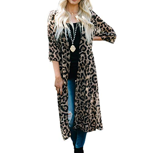 puseky Frauen Leopardenmuster 3/4 Ärmel Strickjacke Lose Open Front Chiffon Cover Up (Color : Leopard Print, Size : XL)