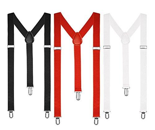 Boolavard Tirantes para hombre y mujer, con forma de Y, estrechos, colores neón 1 x negro, 1 x blanco, 1 x rojo. S