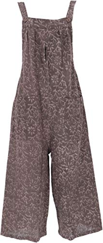 Guru-Shop Sommerliche Latzhose, Ethno Style Boho Oversize Einteiler, Overall, Damen, Dunkelbraun, Baumwolle, Size:XL (42), Lange Hosen Alternative Bekleidung