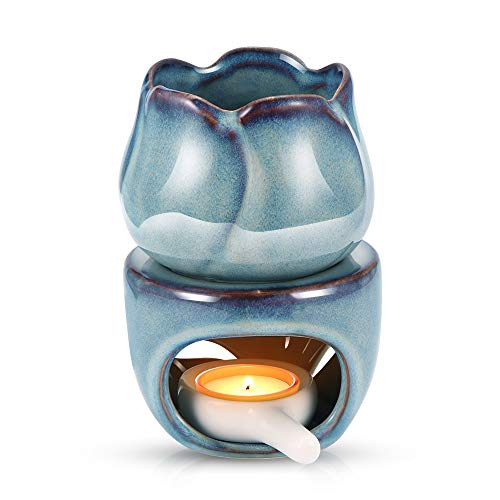 HITECHLIFE Duftlampe für ätherische Öle, 180 ml, Keramik-Wachsbrenner, Aromatherapie, Kerze, Duftzerstäuber, Zuhause, Büro, Schlafzimmer, Teelicht, Geschenk, Dekoration (blau)