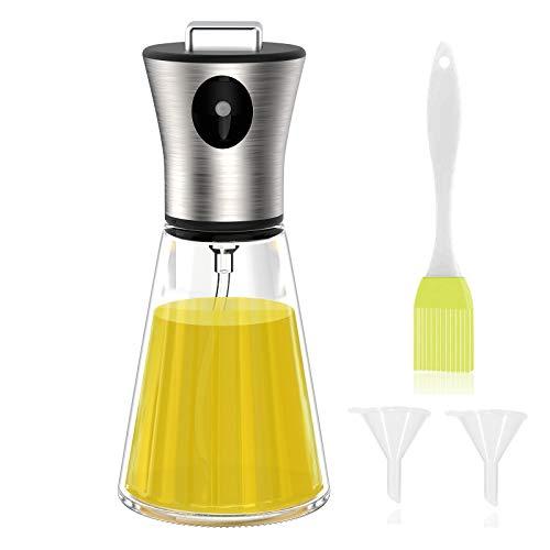 Simpeak Pulverizador de Aceite 200ml, pulverizador de Aceite para Aceite de Cocina, Botella de Spray de Aceite, Spray de Aceite, Spray de Aceite de Oliva, Spray de Aceite con Cepillo y Embudo, 200Ml