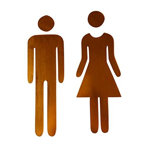 YWLINK Etiqueta De Espejo 3D Divertido WC Puerta De Inodoro SeñAl De Entrada Hombres Mujeres BañO Pared DIY