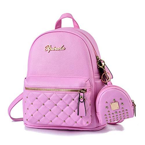 Aly Mochila de las señoras, bolso de hombro de la moda, bolso de escuela del cuero de la PU, mochila impermeable antirrobo del viaje (26*14*30cm, Rosado)