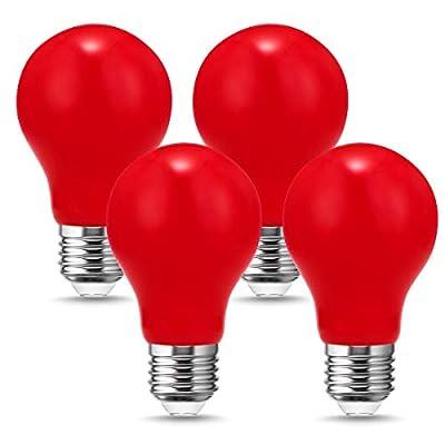 DORESshop LED Red Light Bulbs 20W Equivalent, A19 2 Watts Red Filament Christmas Light Bulb, Medium Base E26, Perfect for Night Light, Holiday Light, Melatonin Friendly, Halloween, Party decor, 4 Pack