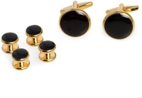 Bey-Berk Black Cufflinks and Studs Set