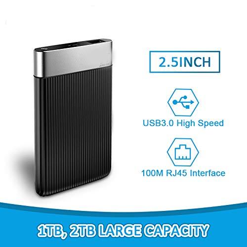 GAYBJ 2,5-Zoll-1-TB- / 2-TB-SATA-USB3.0-Smart-Mobile-Festplatten Sicherheit Verschlüsselung Externes Festplatten-Netzwerk Cloud-Laufwerk für Computer,Black,2TB