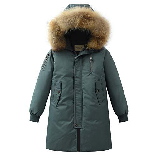 sunnymi Chaqueta de invierno para niños y niñas, de 4 a 14 años, con capucha, de plumón, abrigos, abrigo de invierno, cálido, con amortiguador, ropa exterior verde 13-14 años