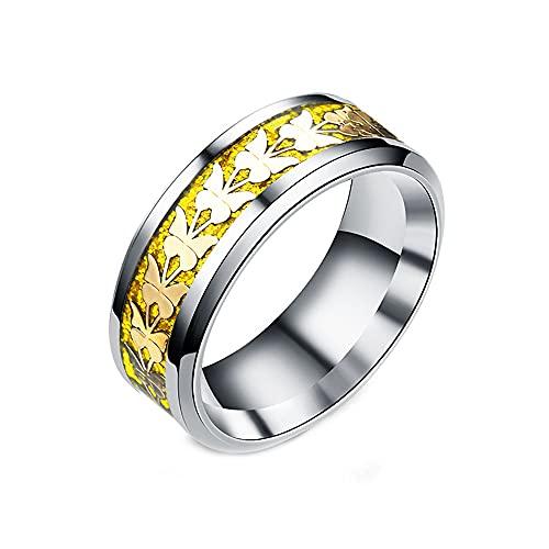 Mujeres hombres moda estilo simple titanio acero mariposa anillos joyería (8 mm, tamaño 6-13)