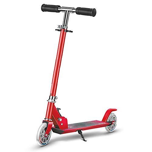 Scooter De Dos Ruedas, Adecuado para Niños Y Niñas De 3 A 12 Años, Altura, Ajustable En Altura, Liviana, Fácil De Doblar El Scooter, Disponible En Tres Colores. (Color : Red)