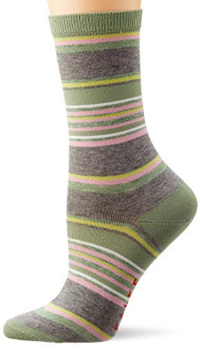 FALKE Damen Pop Stripe W SO Socken, grau (light grey mel. 3390), 35-38 (UK 2.5-5 Ι US 5-7.5)