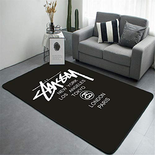 Xiaosua Durable Carpet Simple and stylish white letter design pattern living room bedroom carpet, machine washable anti-allergic absorb water Parloures RugBlack 180x300cm